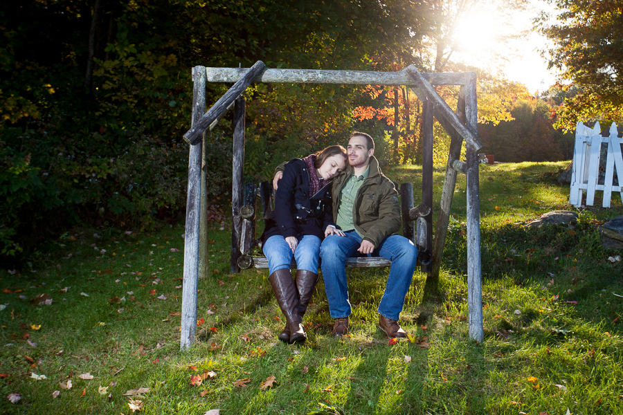 sitting on a bench engagement photo