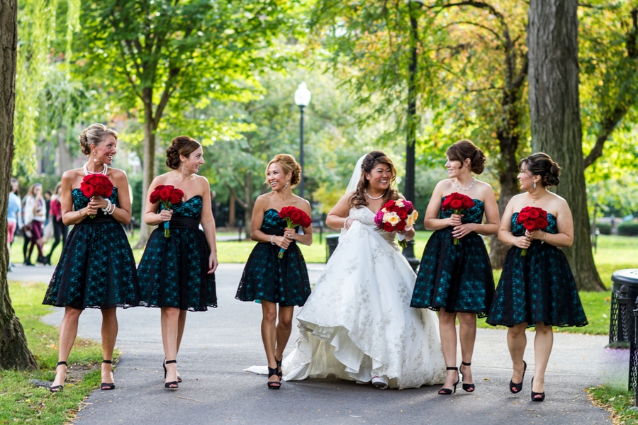 melissa and sung - boston public garden wedding bridesmaids