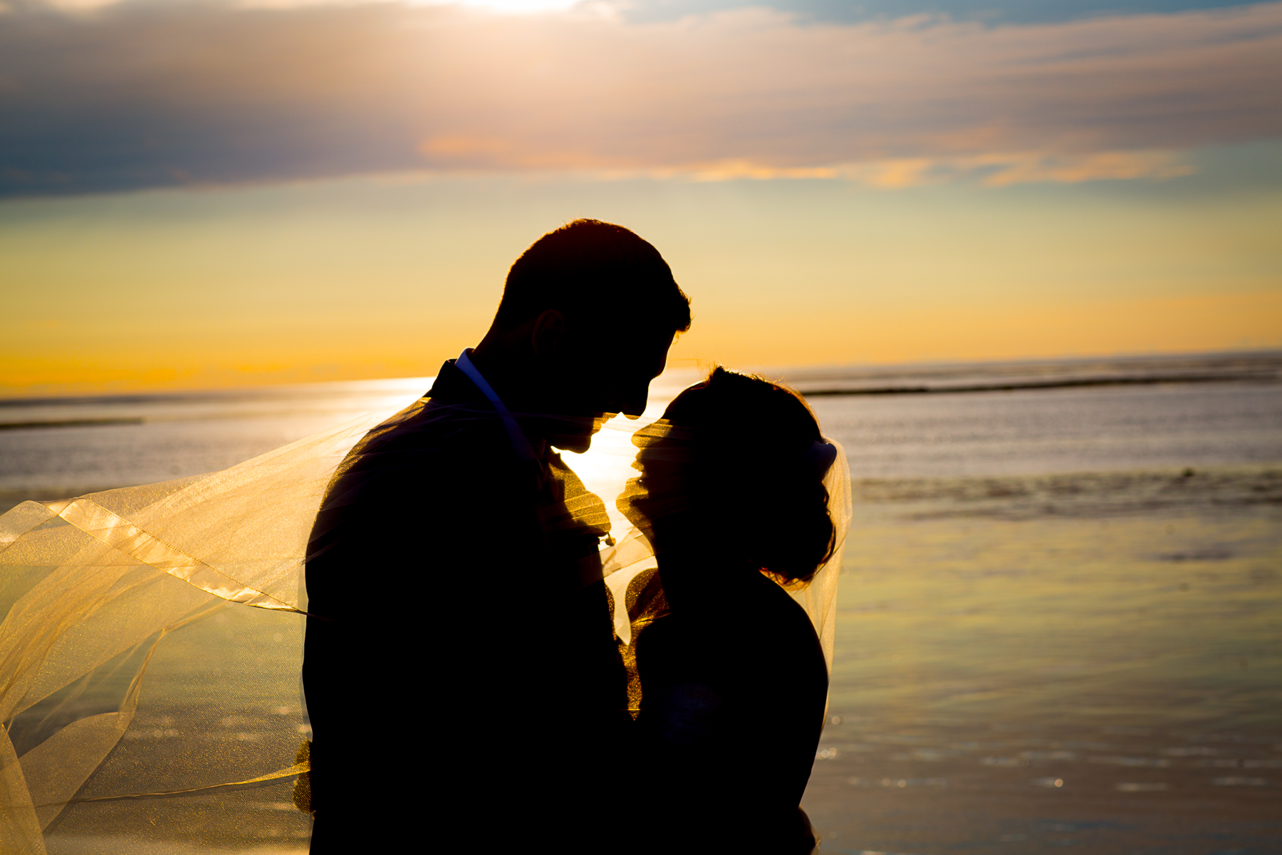 sunset beach wedding photo
