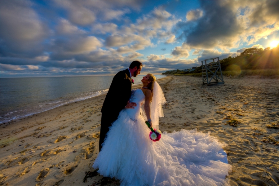 Cape cod wedding portrait on the beach sunset