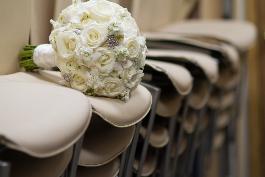White roses with bling wedding bouquet