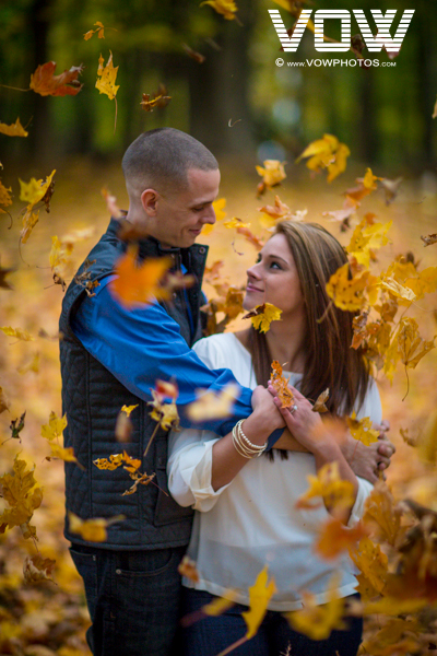 fall foliage engagement photo