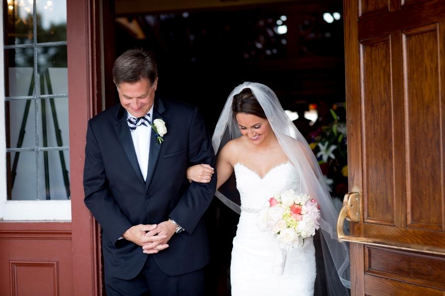 wedding ceremony photography father escorting bride - cape cod